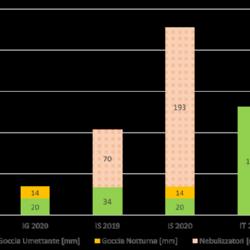 Quantità di acqua utilizzata nelle diverse gestioni irrigue durante le stagioni colturali 2019 e 2020